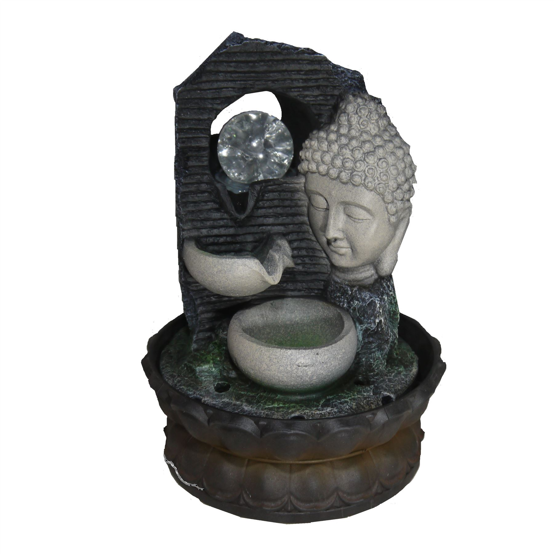 Indoor Buddha Table Top Waterfall Water Feature U0026 Coloured LED Lighting
