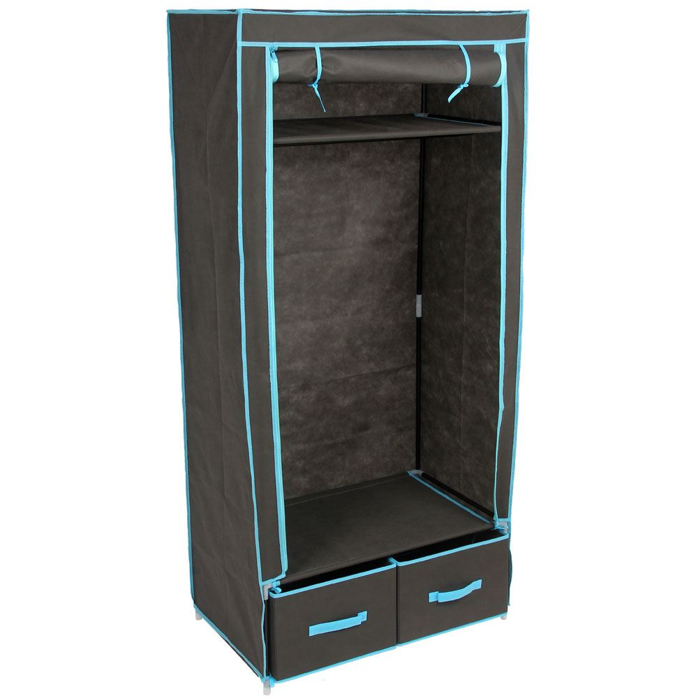 double wardrobe black canvas style rail bedroom clothes storage hanging ebay. Black Bedroom Furniture Sets. Home Design Ideas