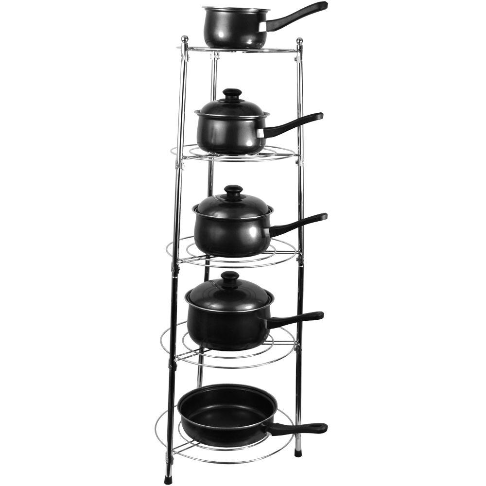 Five tier kitchen pan stand saucepan pot rack holder for Pot racks for kitchen