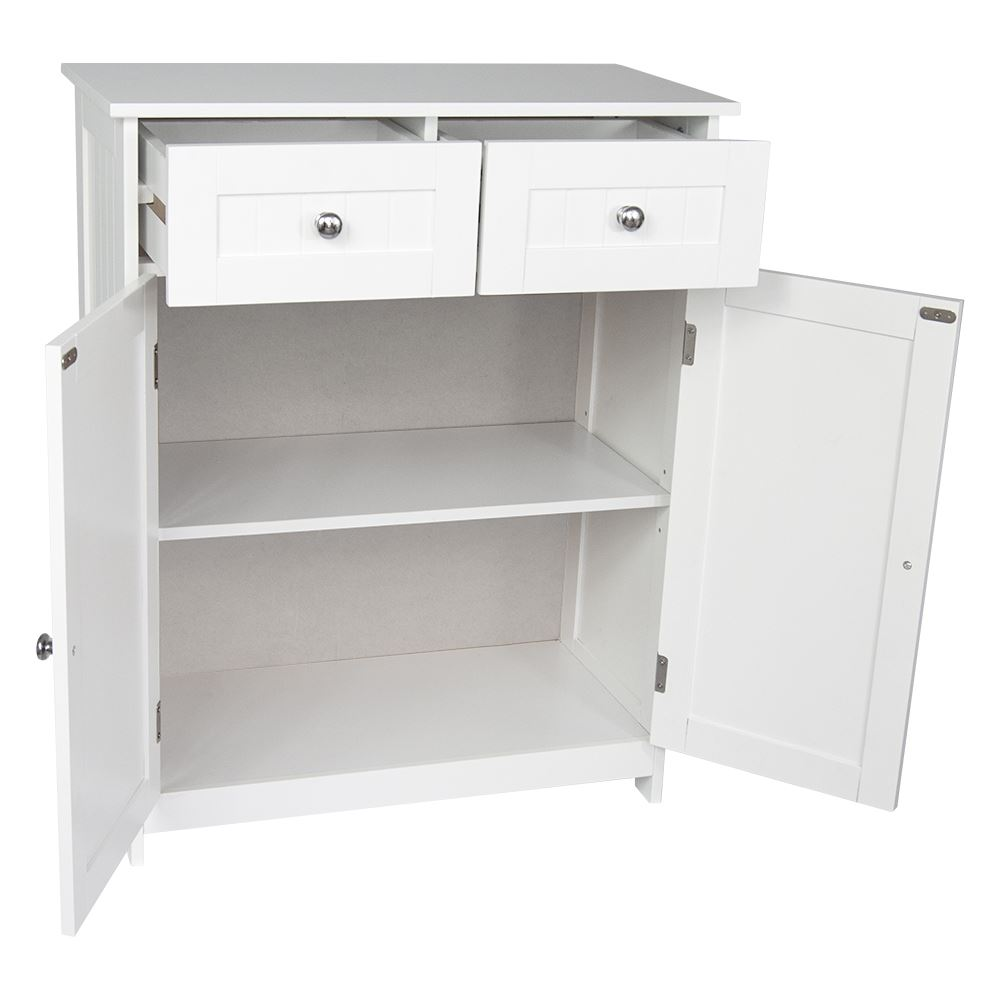 Priano Freestanding Cabinet 2 Door 2 Drawer White Vanity Storage Cupboard Unit Ebay