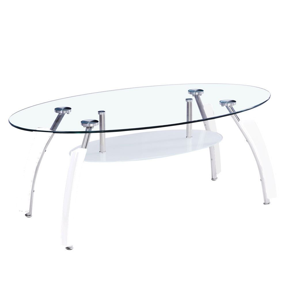 Elena Coffee Table Oval White Living Room Glass Top Frosted Chrome Modern Ebay