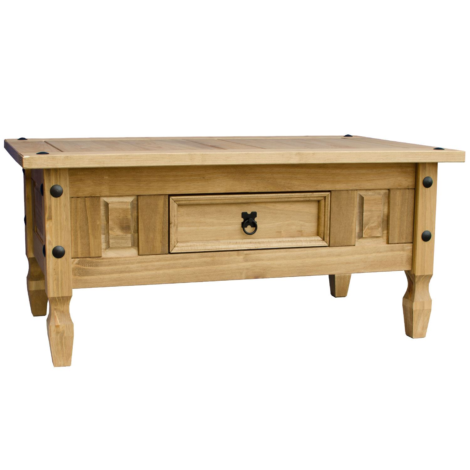 Corona coffee table 1 drawer mexican solid waxed pine rustic living furniture ebay Pine coffee table with drawers