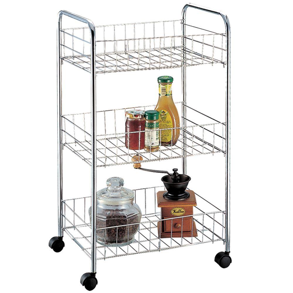 3 Tier Storage Trolley Cart Portable Stand Fruit Vegetable Food Chrome Kitchen Ebay