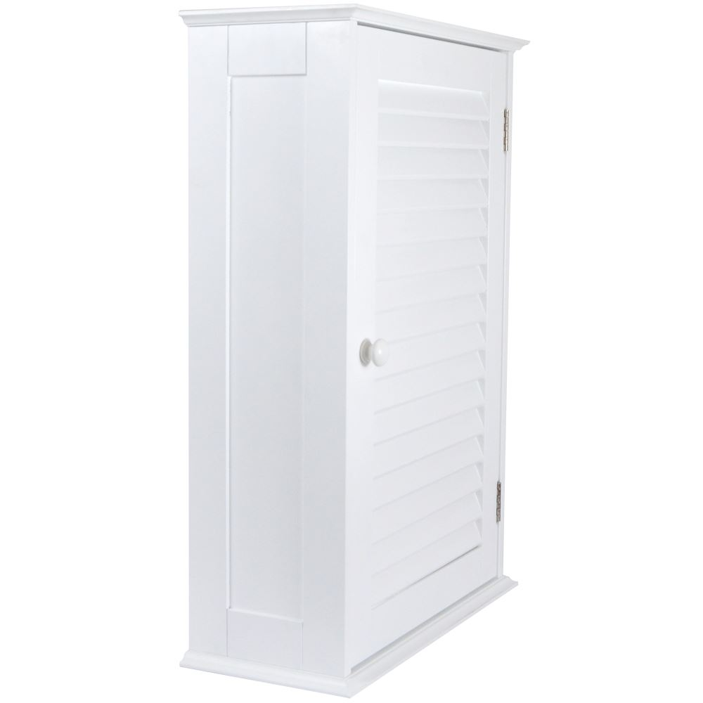 Bathroom Cabinet Wall Mounted Single Shutter Door White