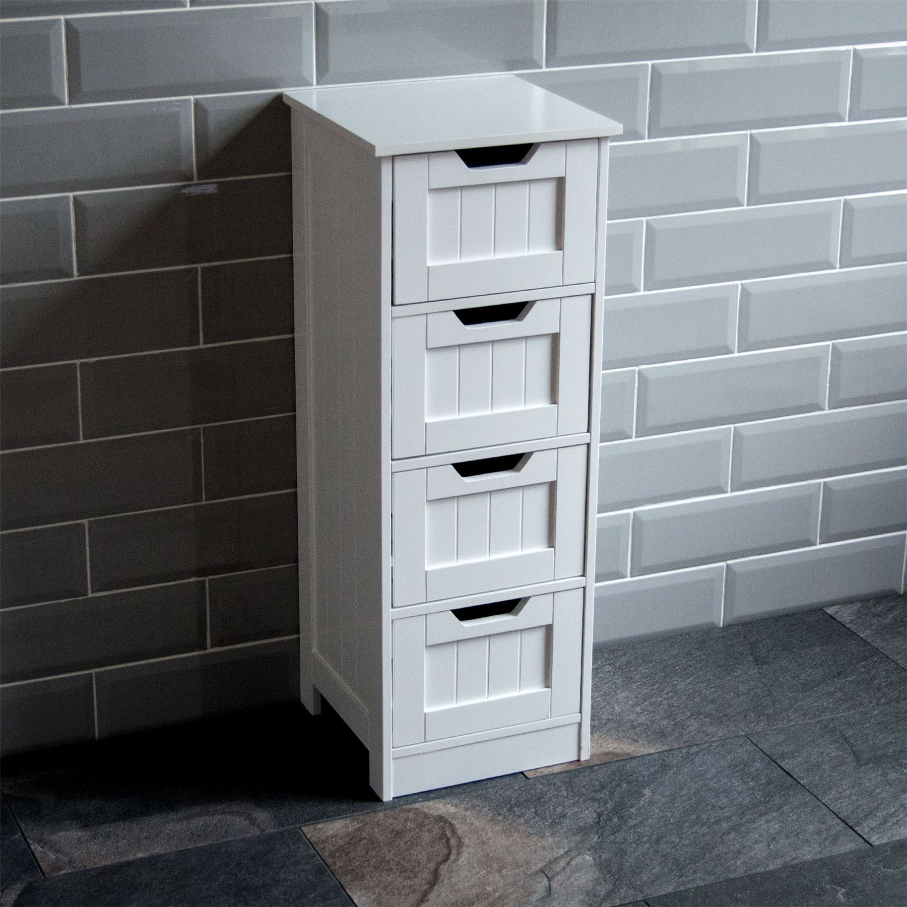 Bathroom 4 drawer cabinet storage cupboard wooden white for Cheap white cabinets sale