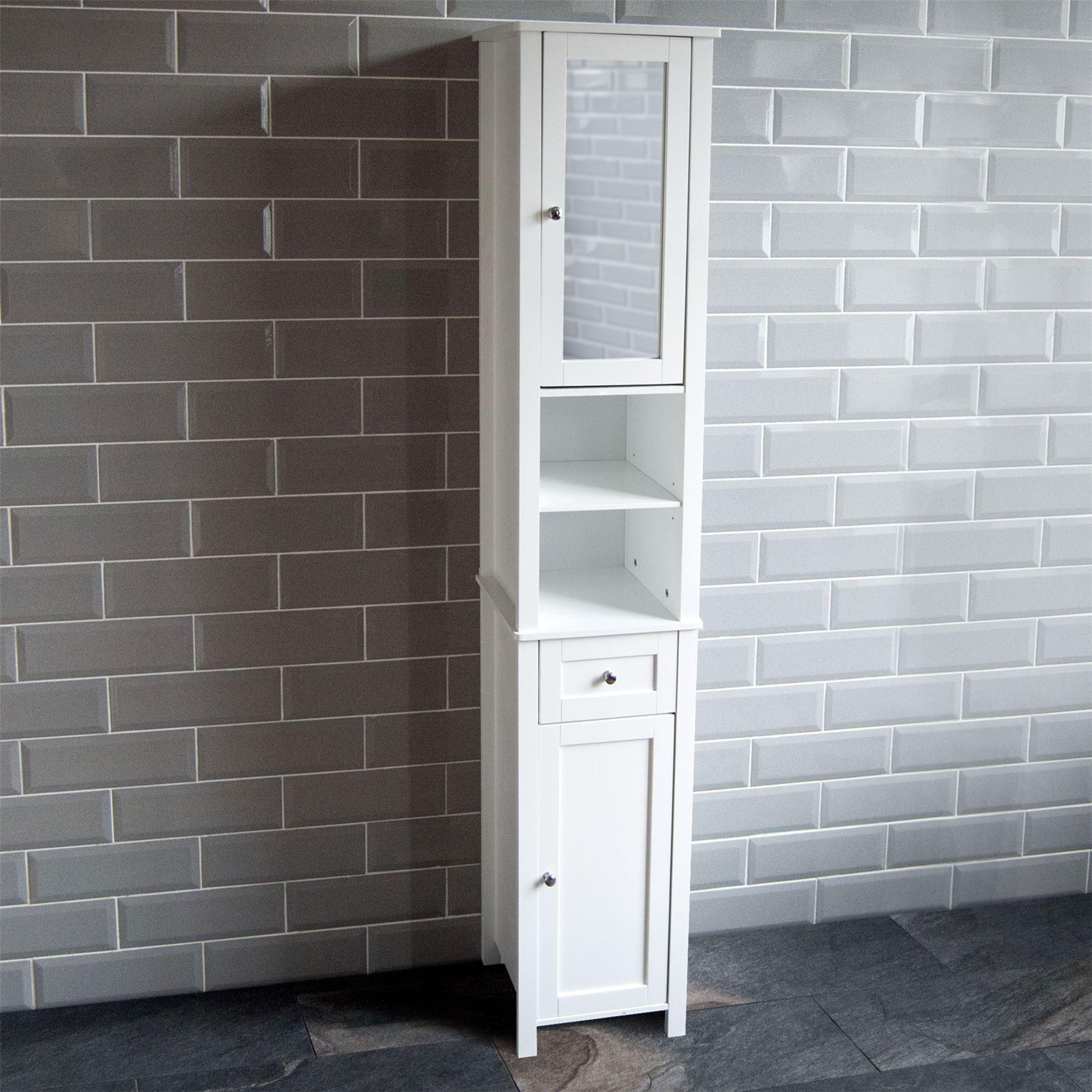 Milano Tall Bathroom Cabinet Mirrored Door Cupboard Storage Shelf Shelving Unit
