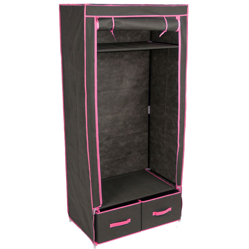 Double Storage Wardrobe Black Canvas Clothes Garment Rail New By Home Discount