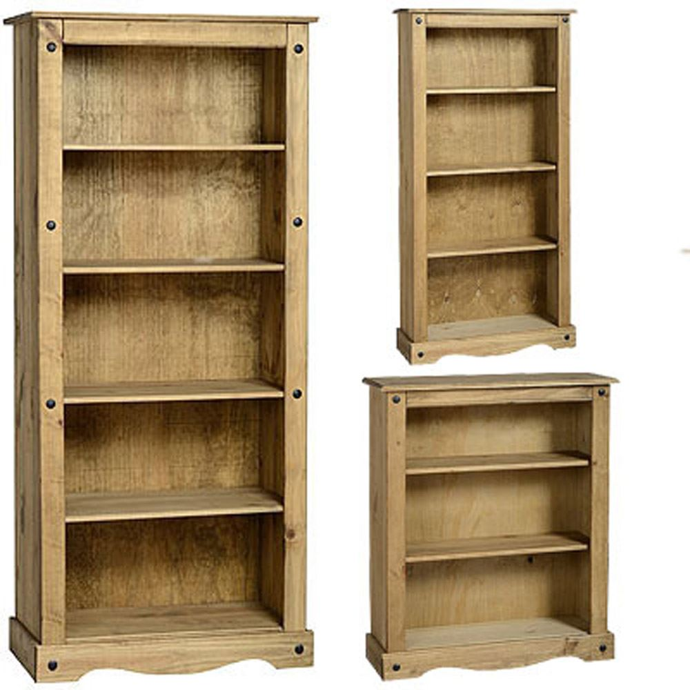 Low Wooden Bookcases ~ Corona bookcase solid pine wood waxed rustic finish unit