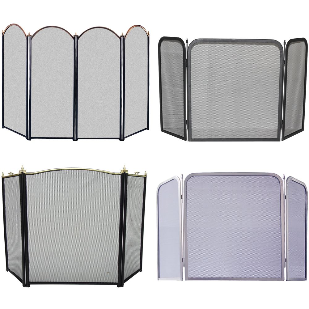 Fire Screen 3 Panel Spark Guard Fireplace Fireside Folding By Home Discount