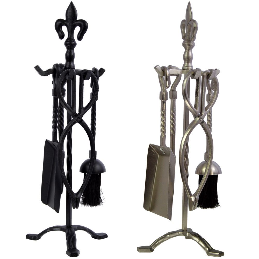 5 piece fleur de lys fire companion set fireplace black. Black Bedroom Furniture Sets. Home Design Ideas