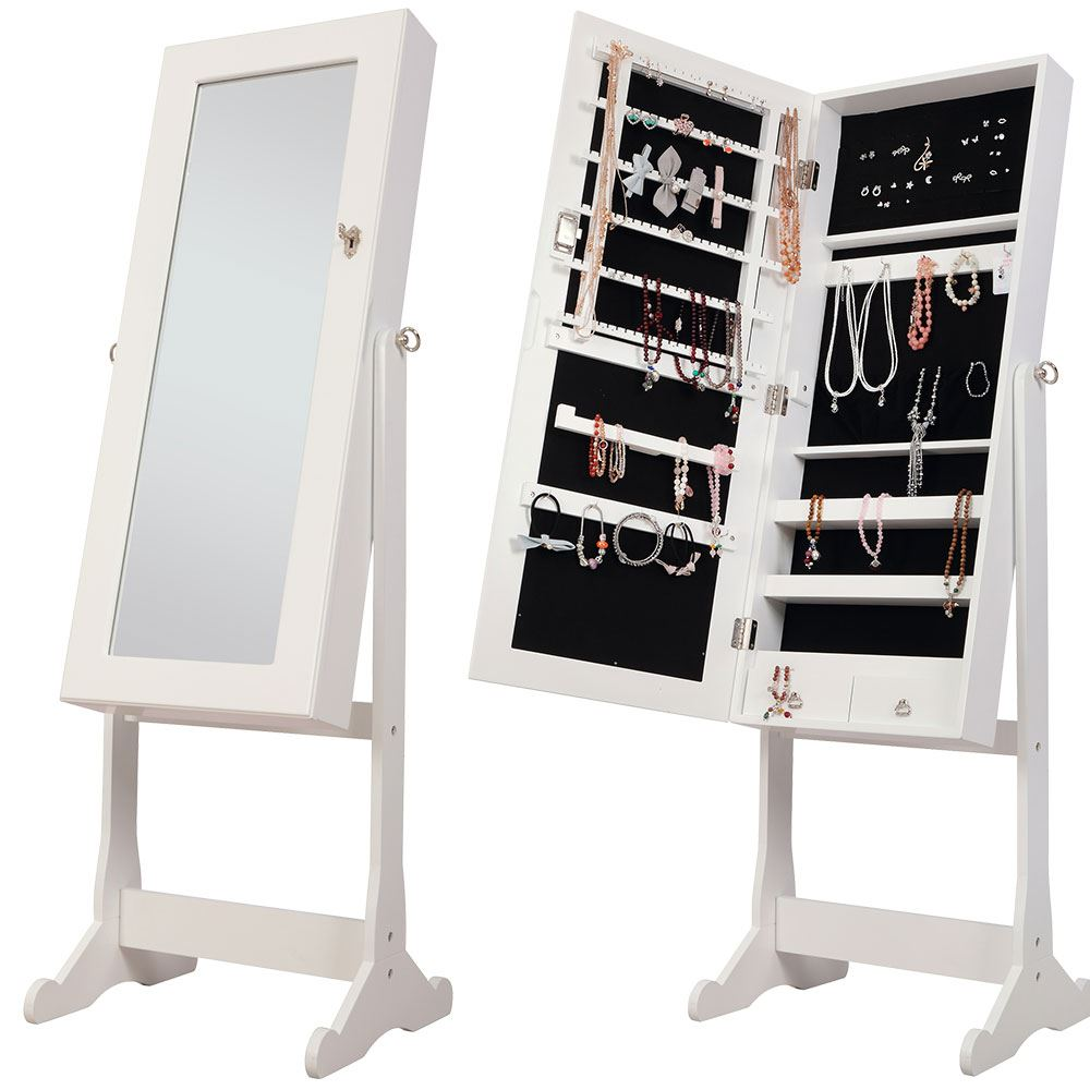 Nishano jewellery cabinet large white floor free standing for Floor standing mirrored bathroom cabinet