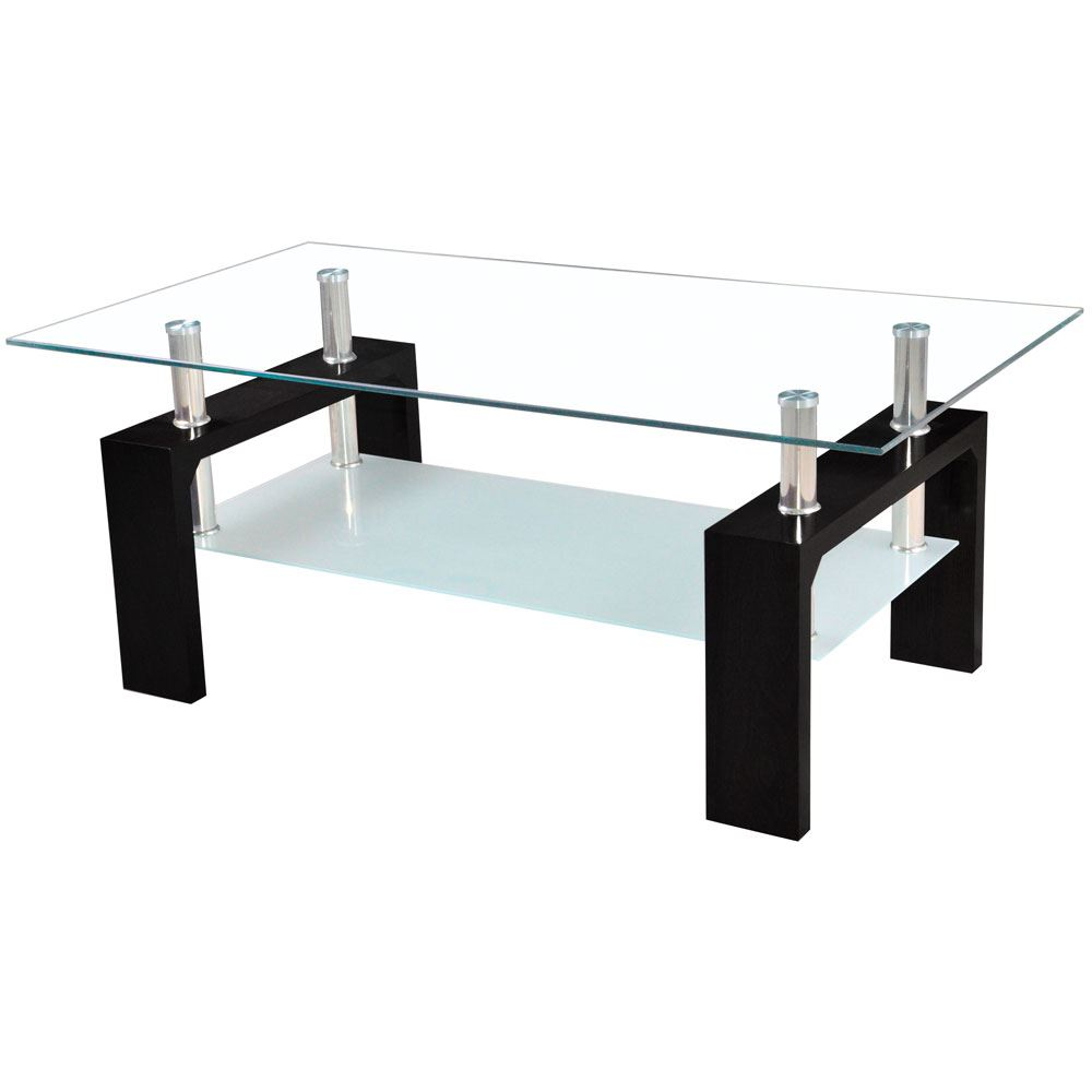 Elise coffee table black rectangular modern glass top for Rectangular coffee table with glass top