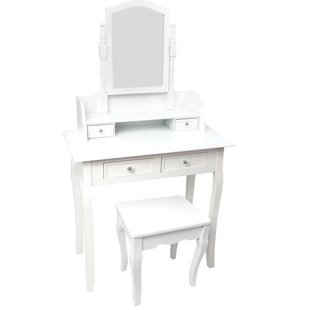 Nishano dressing table 4 drawer with stool white bedroom vanity makeup desk ebay - Stool for vanity table ...