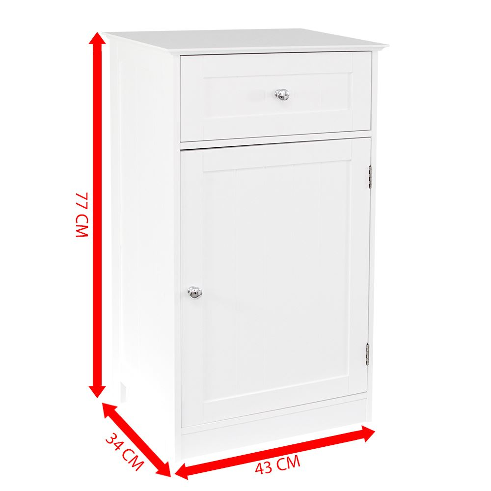 priano free standing unit 1 drawer 1 door white bathroom cabinet vanity storage. Black Bedroom Furniture Sets. Home Design Ideas