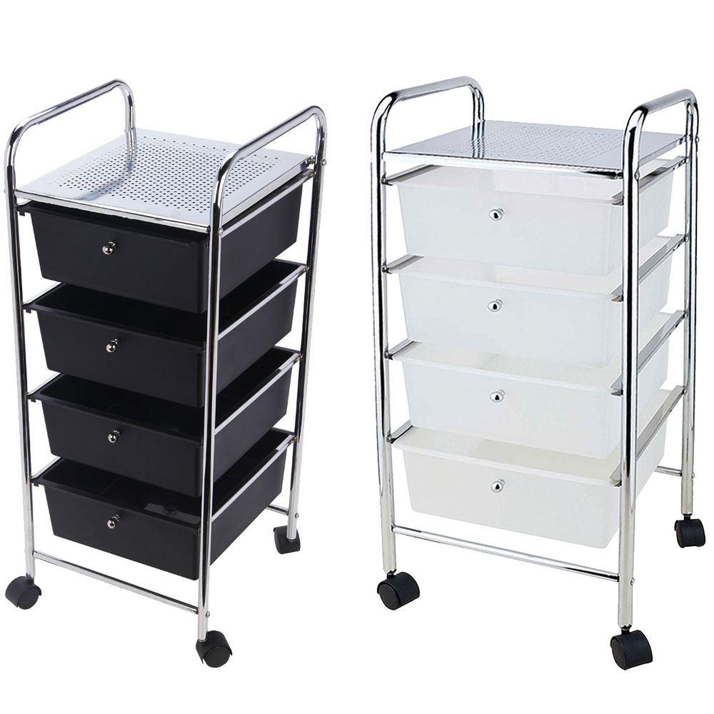 4 drawer trolley mobile office salon storage cart wheels unit by home discount ebay. Black Bedroom Furniture Sets. Home Design Ideas