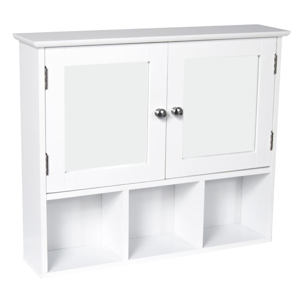 Milano Bathroom White Wall Mounted Mirror Double Door Cabinet Cupboard Unit Ebay
