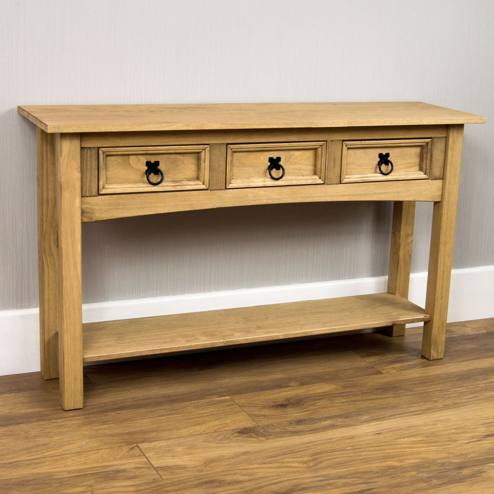 Corona 1 2 3 drawer console table with shelf hallway end pine by home discount ebay - Pine sofa table with drawers ...