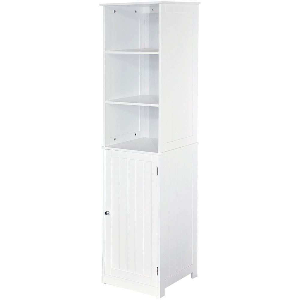 Priano bathroom white tall cabinet shelving storage - White tall bathroom storage unit ...