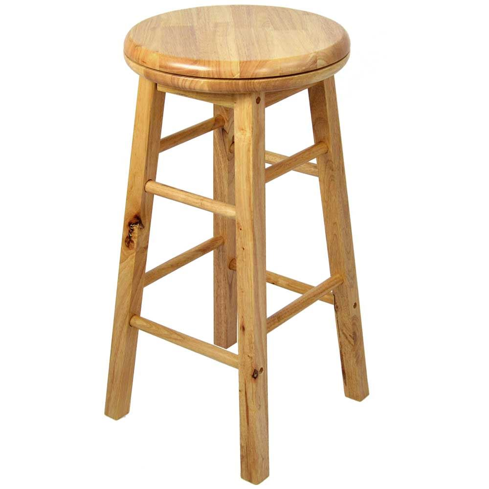 Wooden revolving stool light brown solid rubberwood