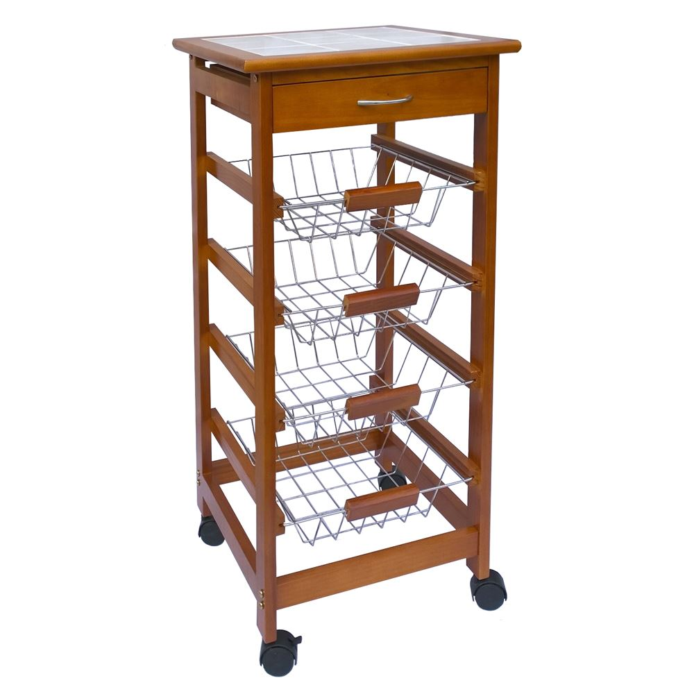 Tier Kitchen Trolley Wood Cart Basket Storage Drawer Tile