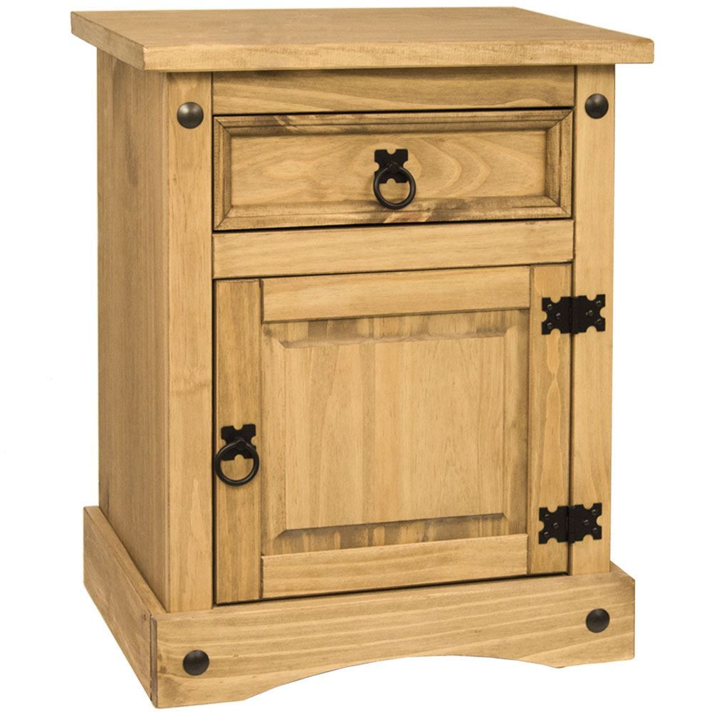 Corona Bedside Cabinet 1 Drawer 1 Door Mexican Solid Waxed