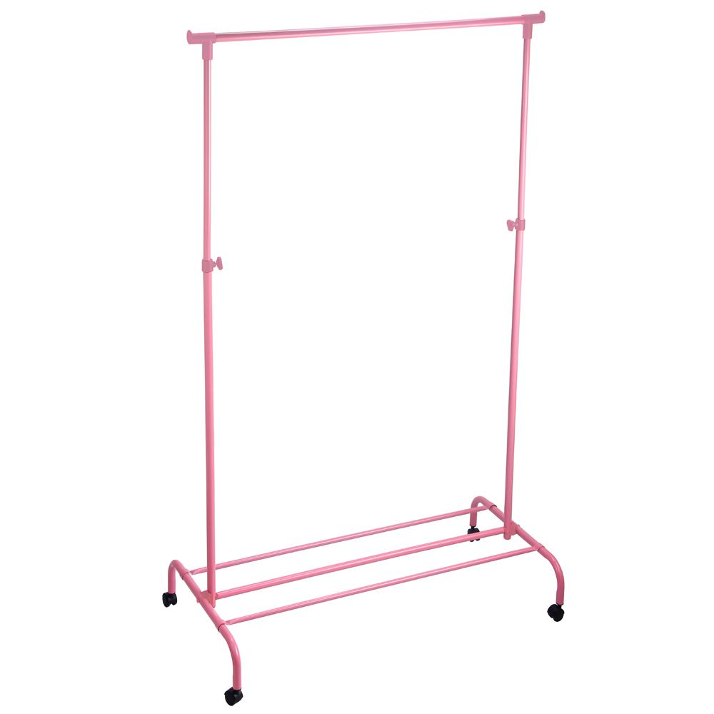 single garment rack pink clothes portable hanging rail wheels by home discount ebay. Black Bedroom Furniture Sets. Home Design Ideas
