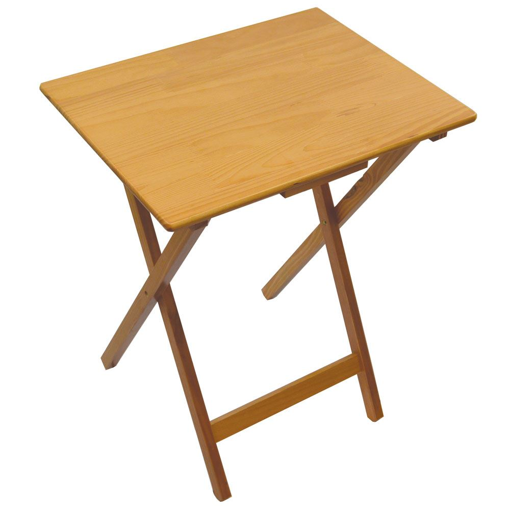 Folding snack table pine wood mdf tv side laptop coffee - Folding wooden table ikea ...