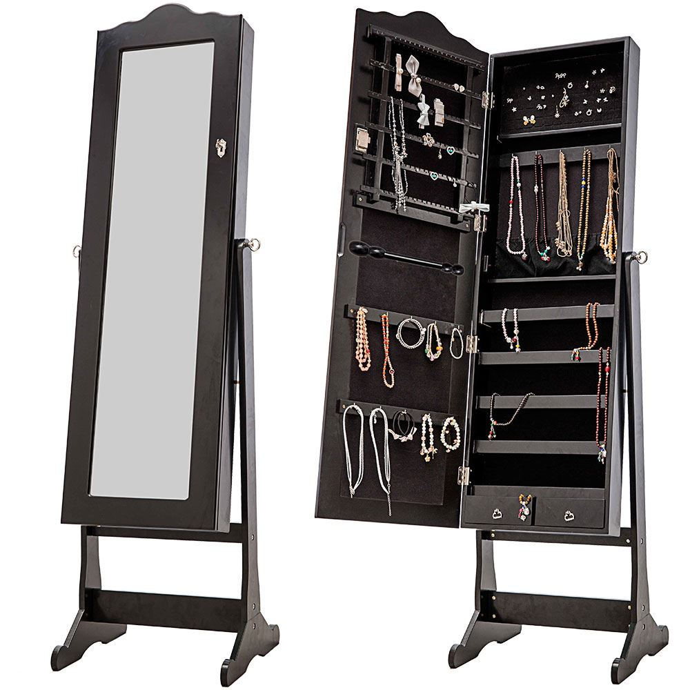 Nishano jewellery cabinet extra large black floor standing for Floor standing mirrored bathroom cabinet