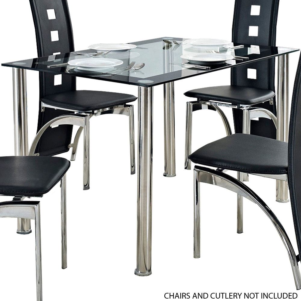 Verona Dining Room Table 140cm Kitchen Furniture Glass Black By Home Discount Ebay