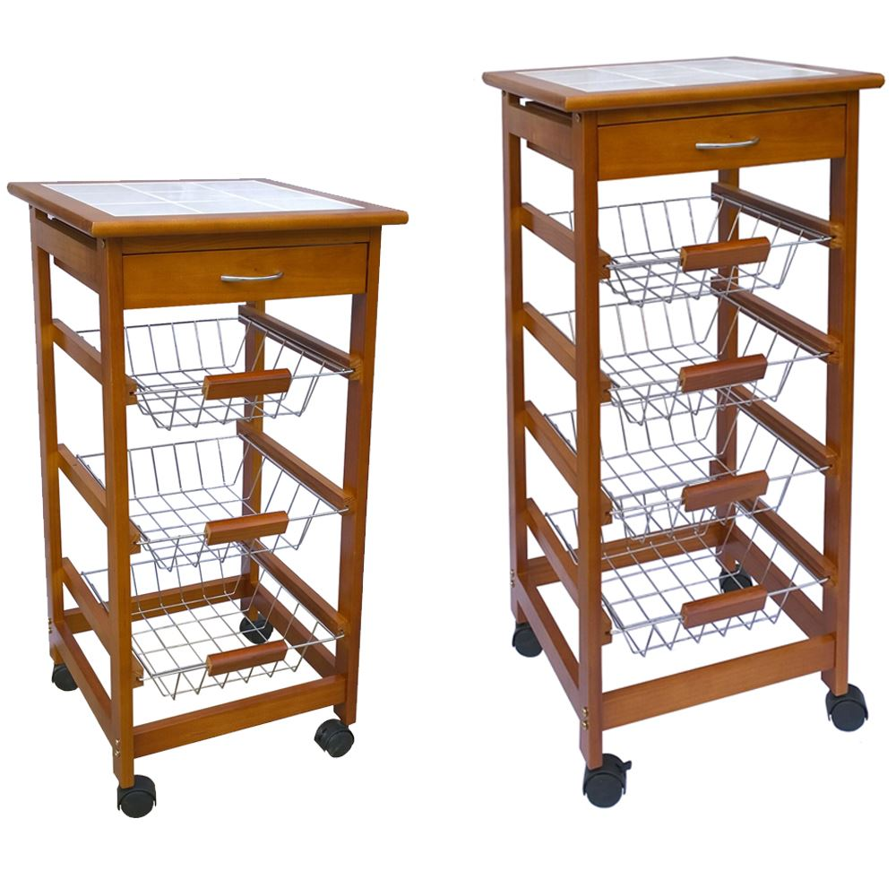 Kitchen Trolley Tier Kitchen Trolley Wood Cart Basket Storage Drawer Tile Top By