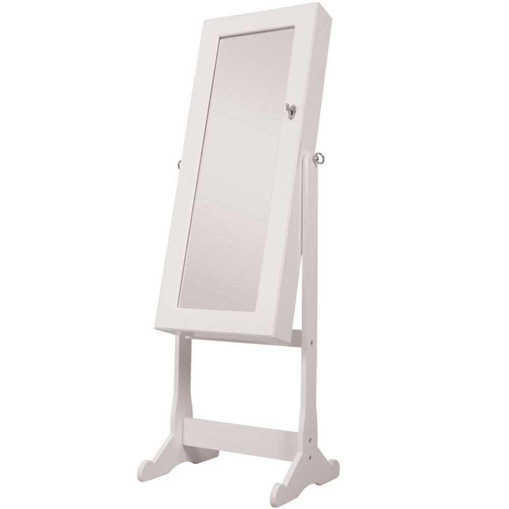 Nishano jewellery cabinet large white floor free standing for Large standing mirror