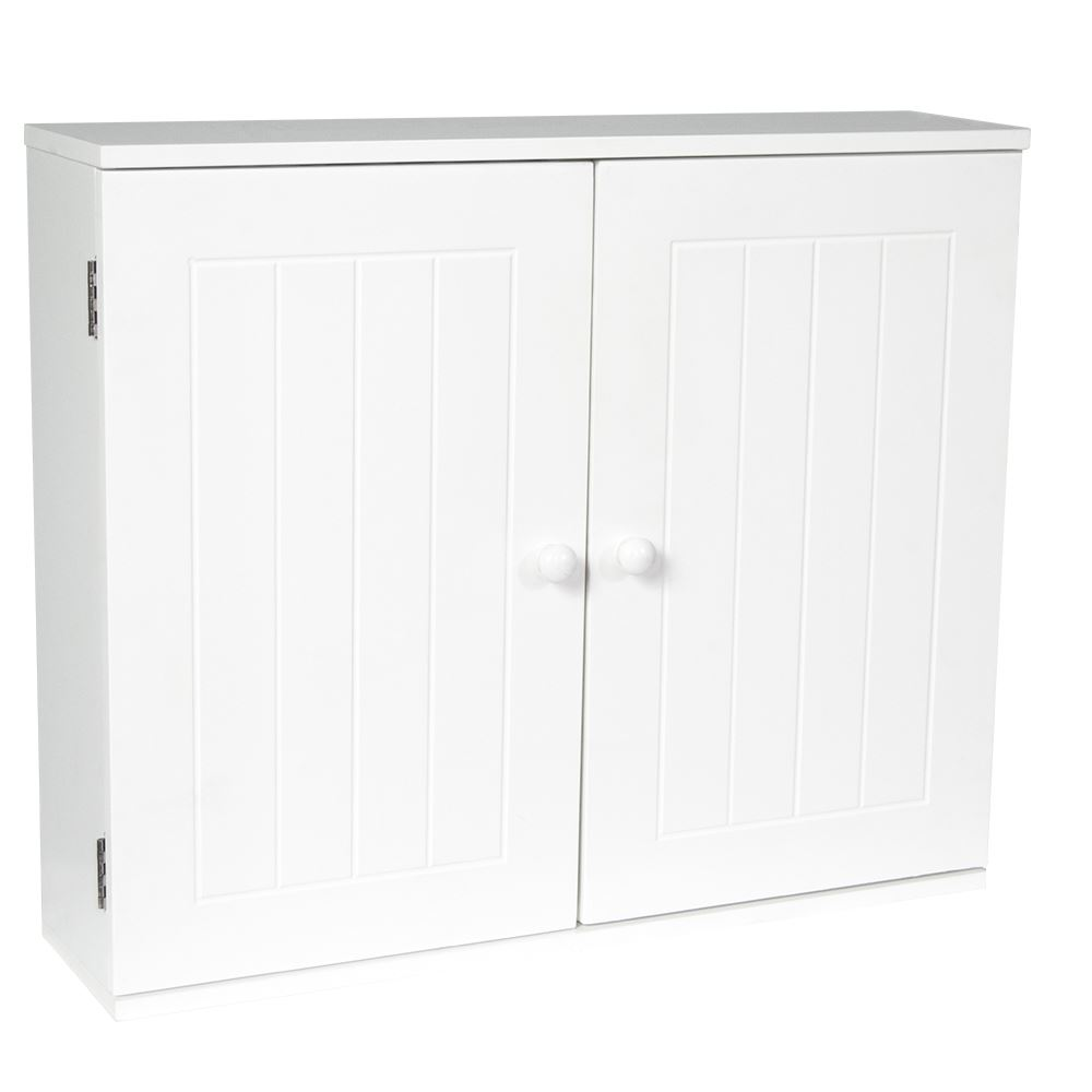 Bathroom wall cabinet double door storage cupboard wooden white by home discount ebay for Cheap bathroom storage cabinets