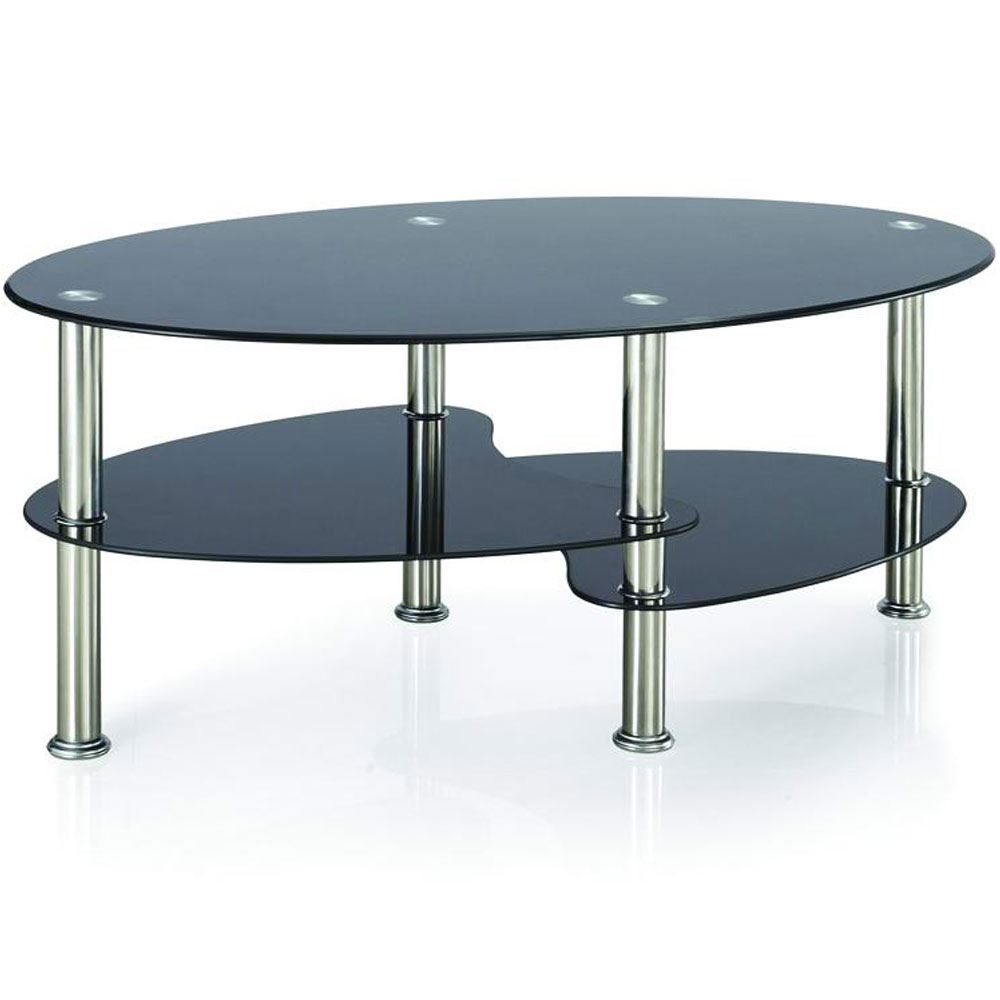 Cara coffee table black glass oval top living room for Glass living room table