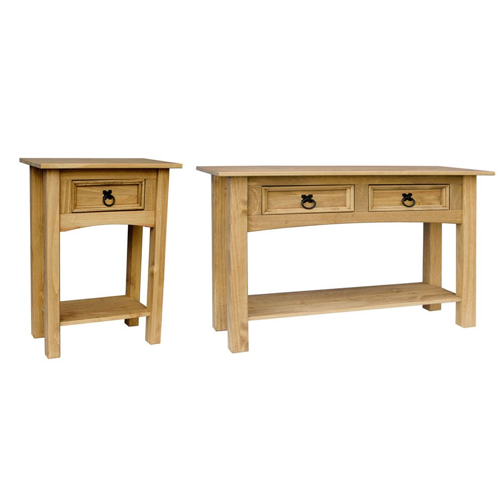 Corona 1 drawer or 2 drawer pine console table with shelf in pine furniture ebay - Pine sofa table with drawers ...