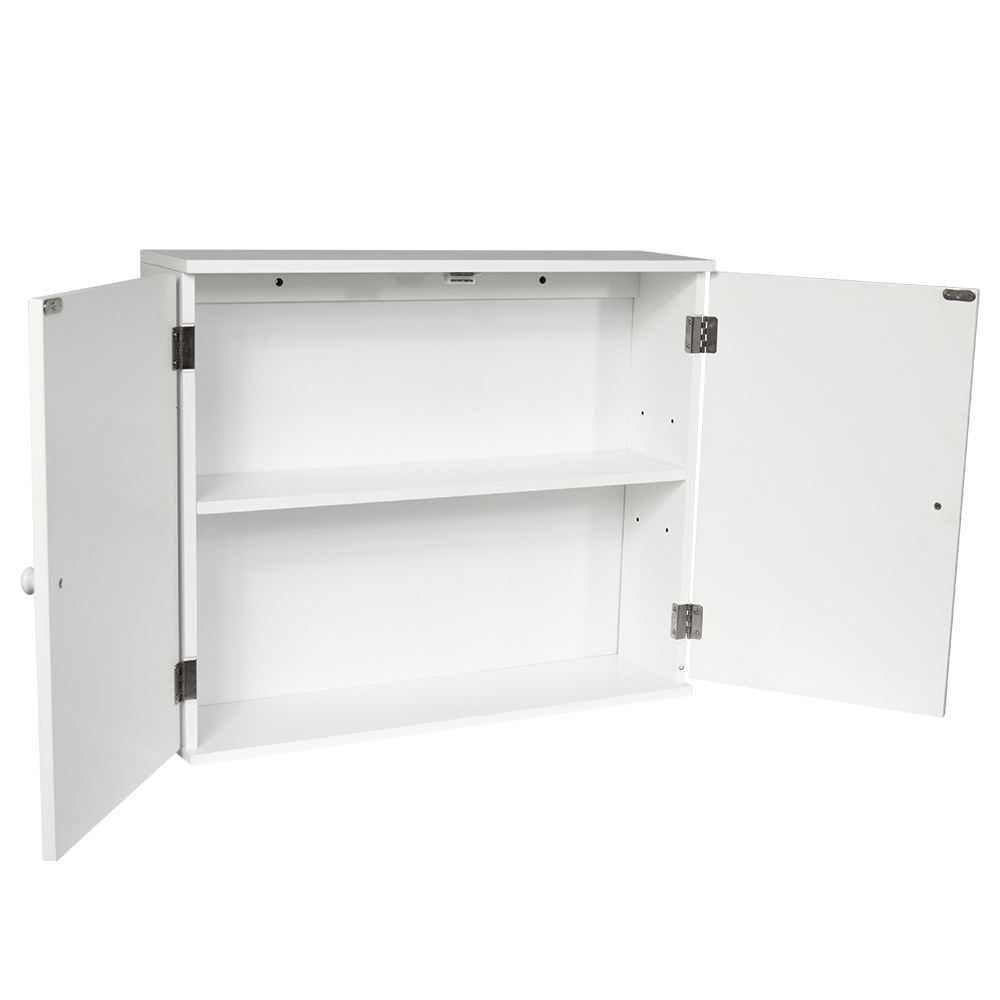 Bathroom Wall Cabinet Double Door Storage Cupboard Wooden White By Home Discount Ebay