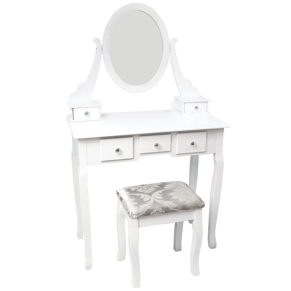 nishano dressing table 5 drawer stool mirror bedroom furniture makeup desk white ebay. Black Bedroom Furniture Sets. Home Design Ideas
