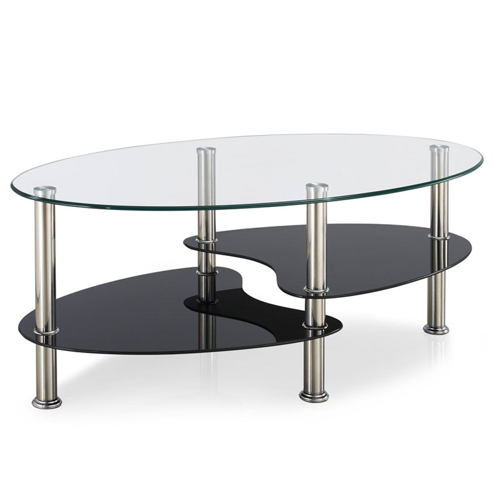 Cara Coffee Table Black Clear Frosted Oval Shelves Glass Modern By Home Discount Ebay