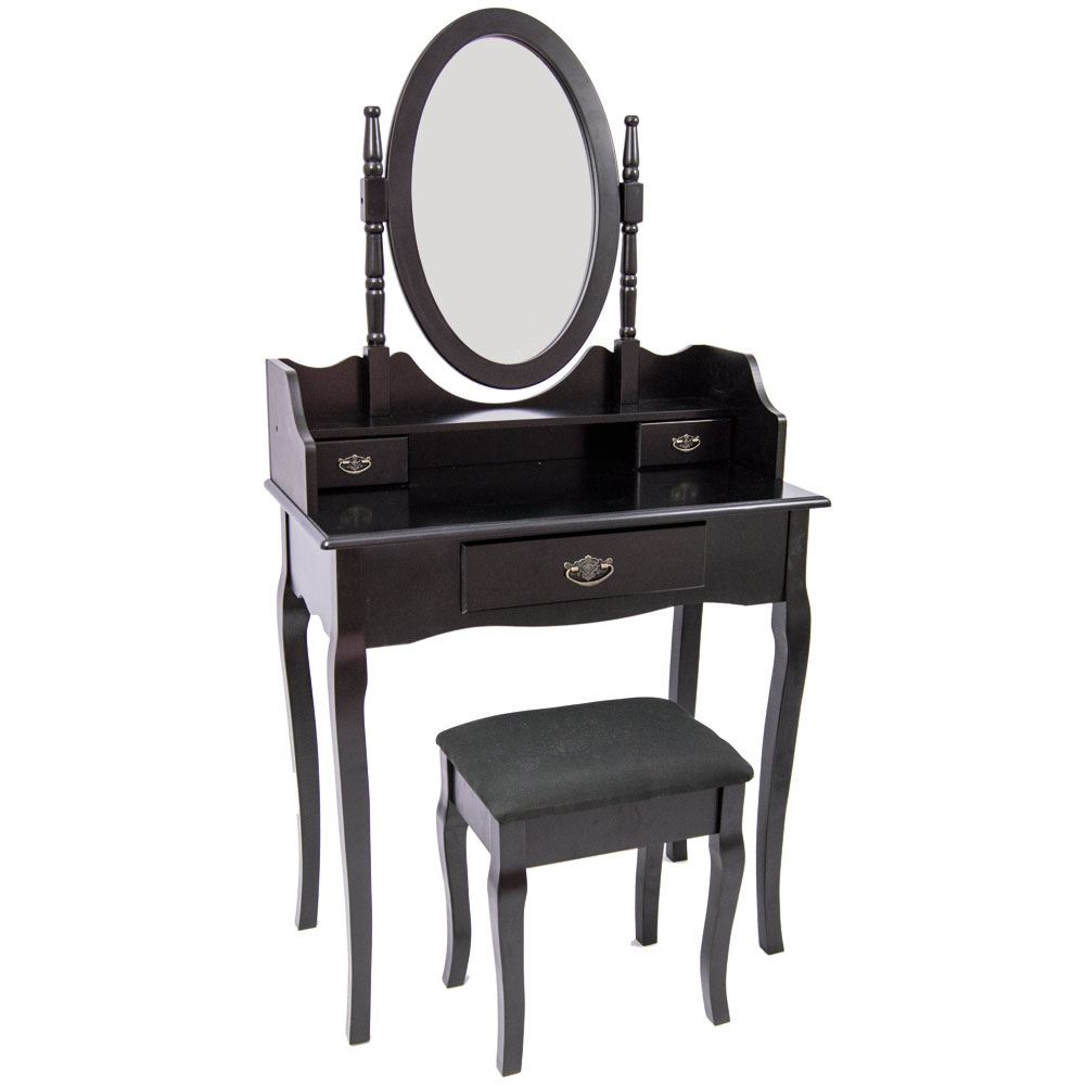 Nishano dressing table 3 drawer stool black mirror bedroom for Cheap dressing table with mirror