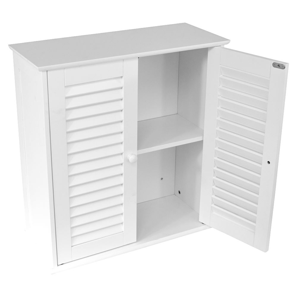 Bathroom cabinet wall mounted double shutter door white storage by home discount ebay for Cheap bathroom storage cabinets