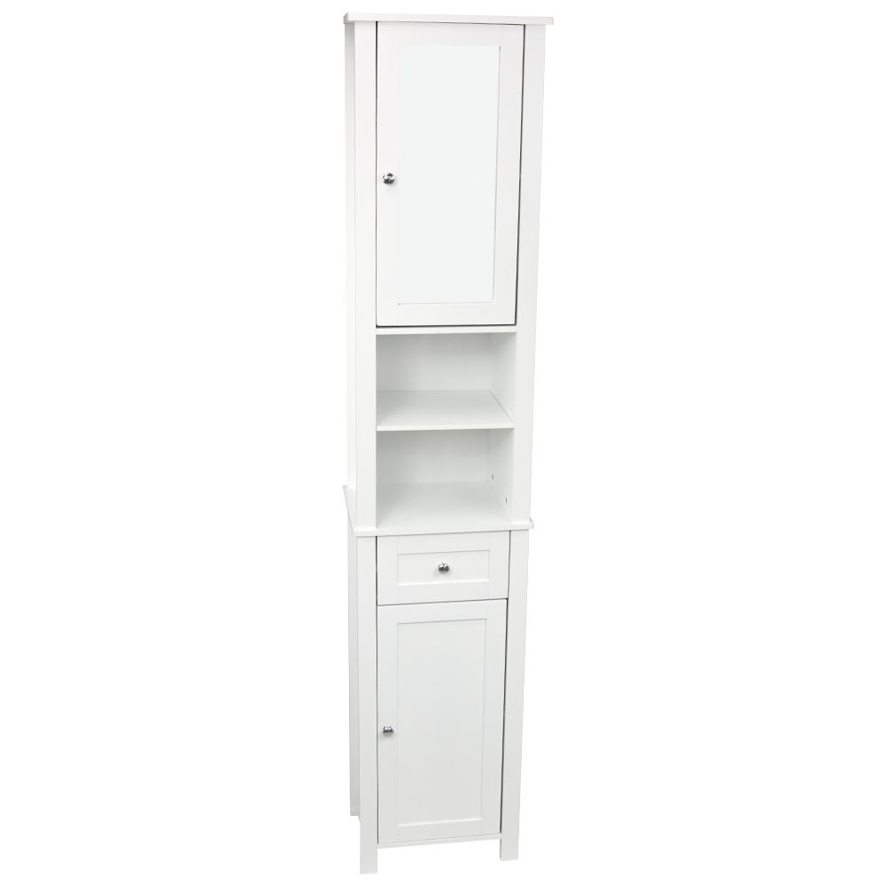 Milano tall bathroom cabinet mirrored door cupboard - Tall bathroom storage cabinets with doors ...