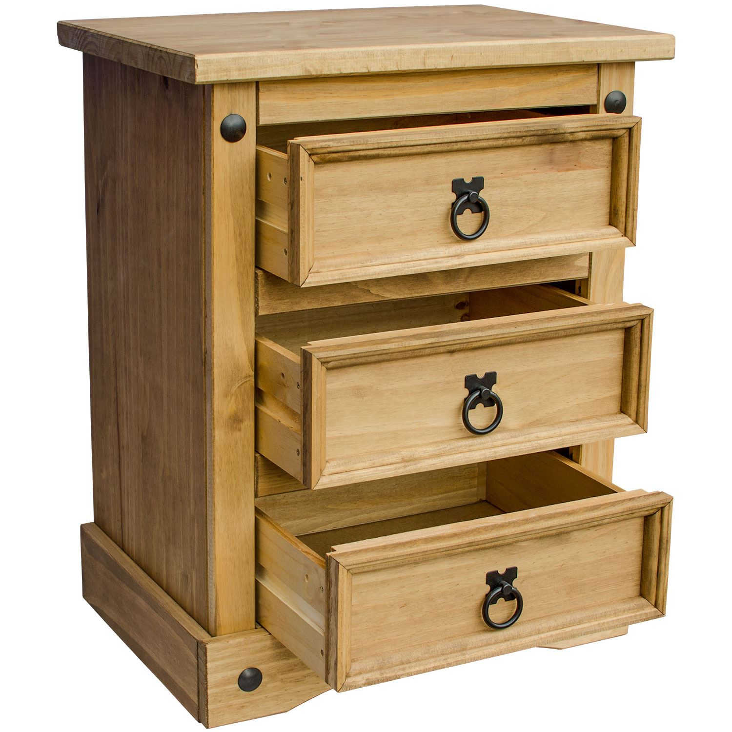 Corona Bedside Chest 3 Drawer Mexican Solid Waxed Pine