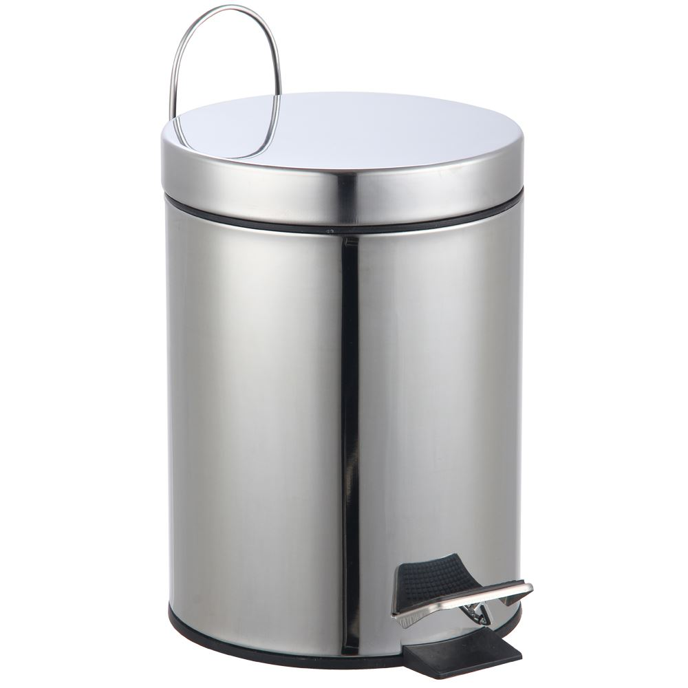 3 Litre Pedal Bin Stainless Steel Bathroom Kitchen Waste