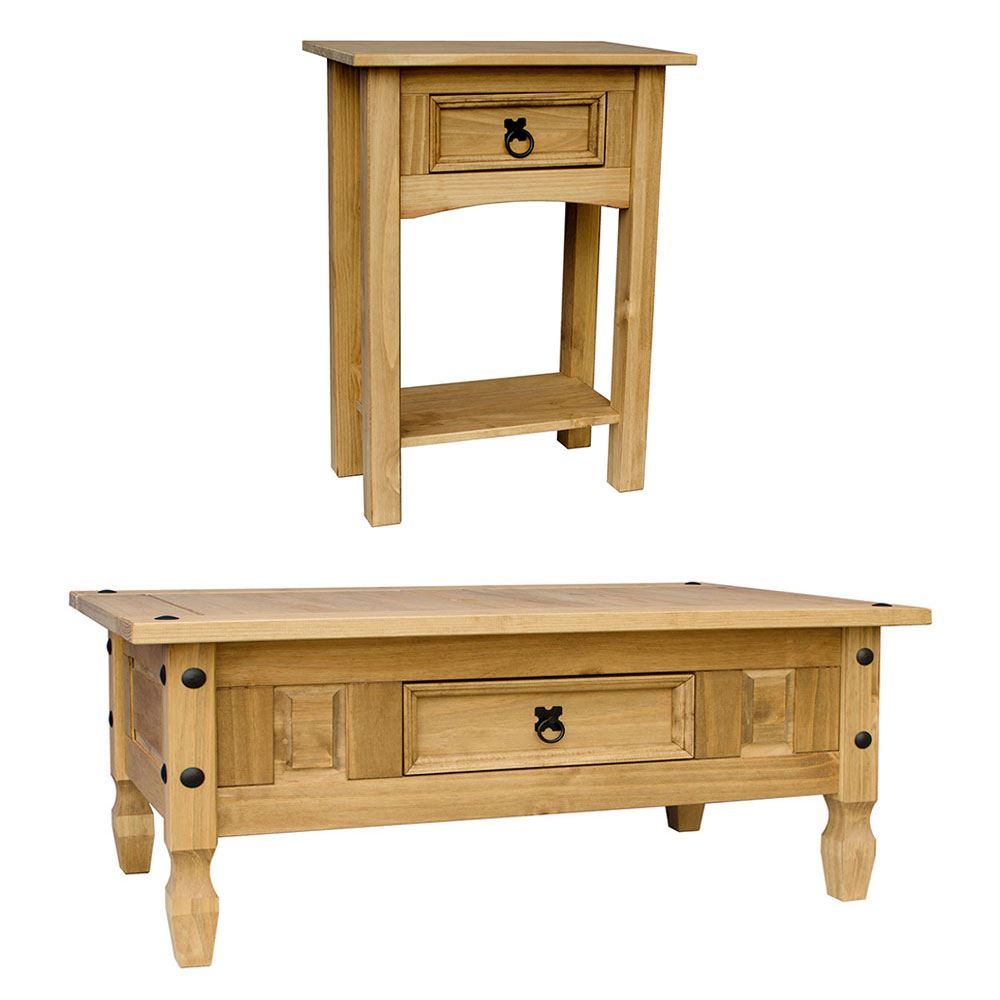 Corona coffee table with drawer console table mexican pine furniture ebay - Pine sofa table with drawers ...