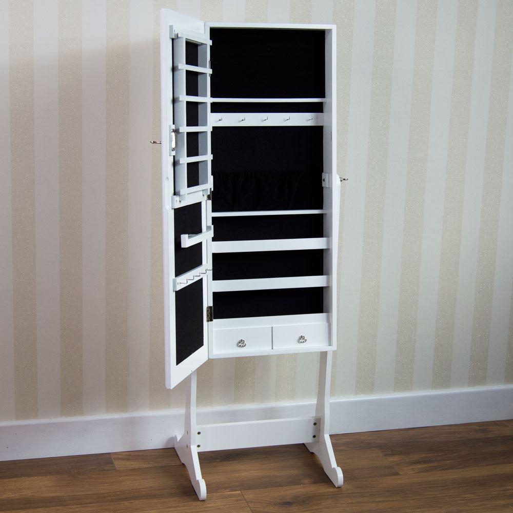 jewellery cabinet mirror floor free standing bedroom storage organiser