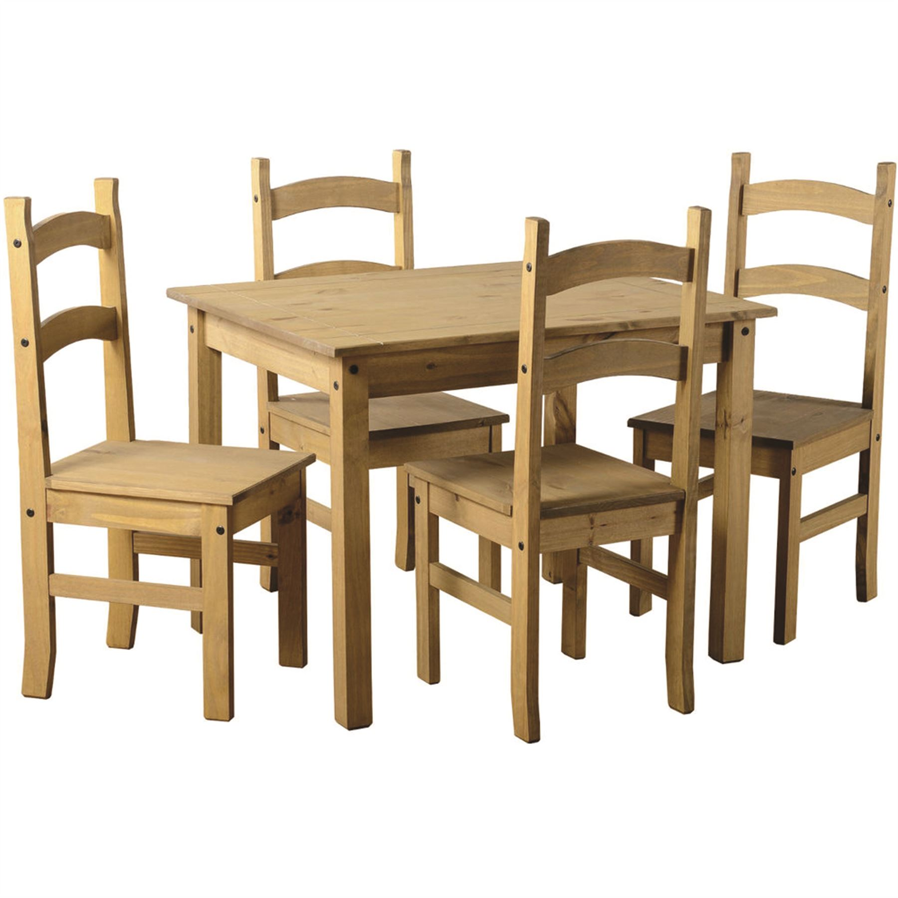 Corona 4 seater dining set chairs table solid waxed pine for Dining table set 4 seater