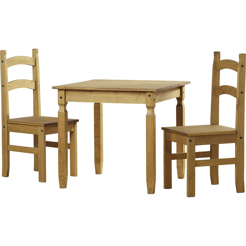 Corona 2 seater dining set chairs table solid waxed pine 3 for 2 seater dining table