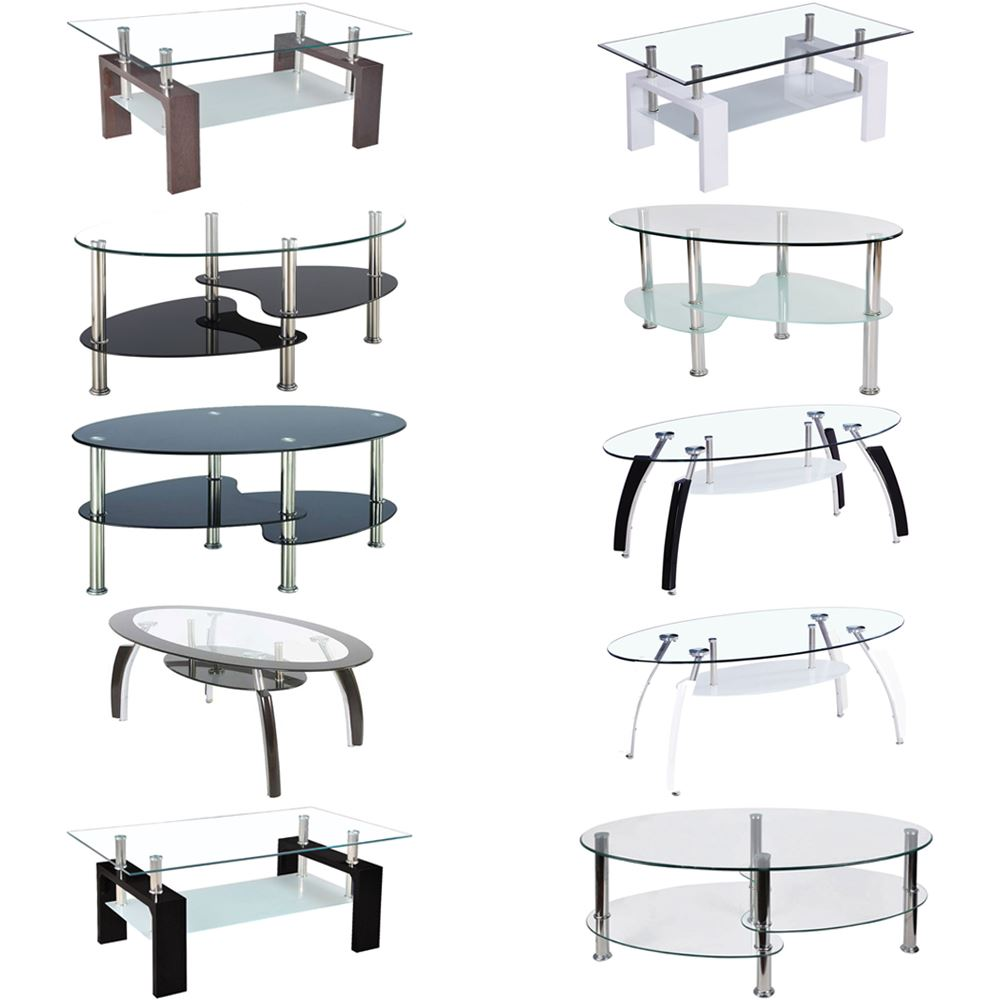 Coffee tables cara elena elise glass top stainless steel for Coffee tables the range
