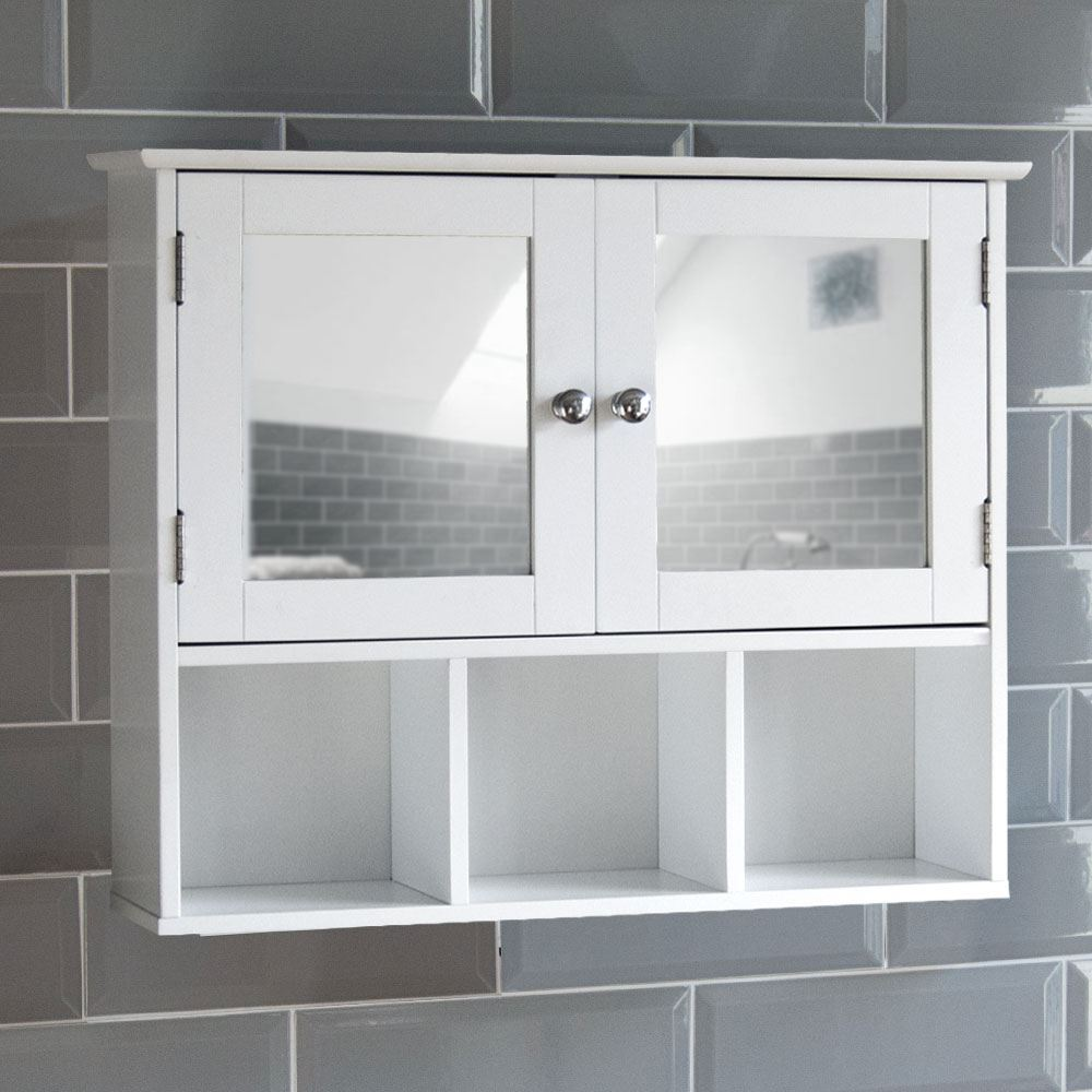 Milano bathroom mirror cabinet double door shelves wall - Wall cabinet with mirror for bathroom ...