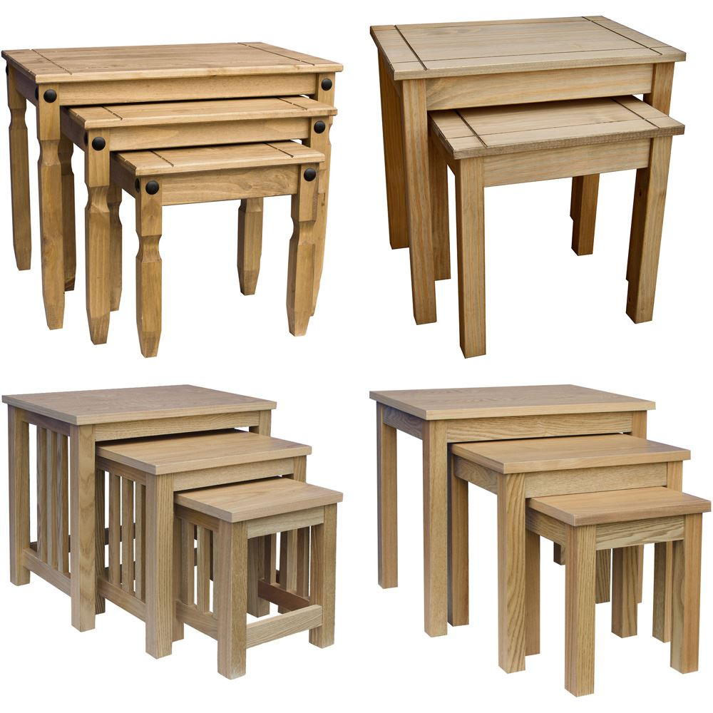 Wooden Side Tables For Living Room: Nest Of Tables 2 3 Table Units Solid Wood Living Room Side