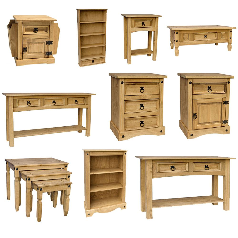 Corona panama mexican solid pine wood furniture dining for Solid wood furniture